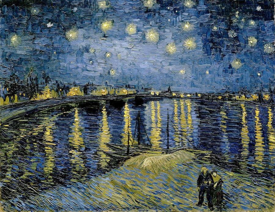 Vincent van Gogh, Nuit étoilée sur le Rhône. Bron: commons.wikimedia.org