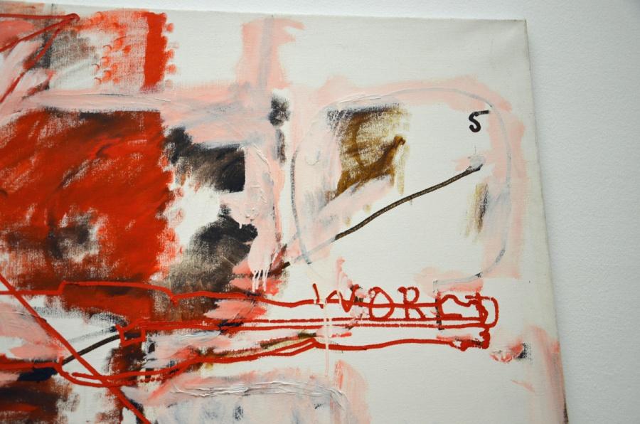 Overschilderd doek met herkenbare onderlaag