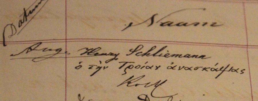Handtekening van Schliemann in het gastenboek (foto auteur)