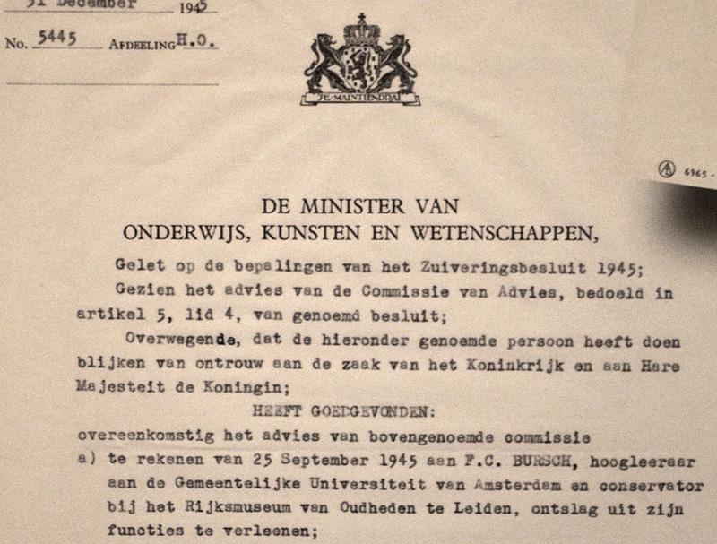 De brief waarmee Frans Bursch na de oorlog ontslagen werd