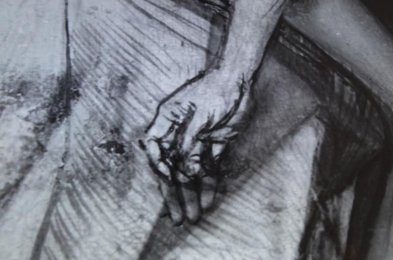Detail van de ondertekening van de hand van Christus op het touchscreen (alle foto's auteur)