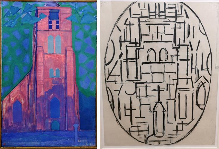 Mondriaan abstraheerde de kerktoren van Domburg steeds verder