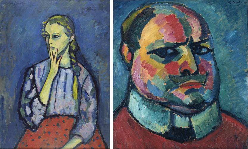 Links: Portret van een meisje, 1909 (Museum Kunstpalast, Düsseldorf). Rechts: Zelfportret, 1912 (Museum Wiesbaden)