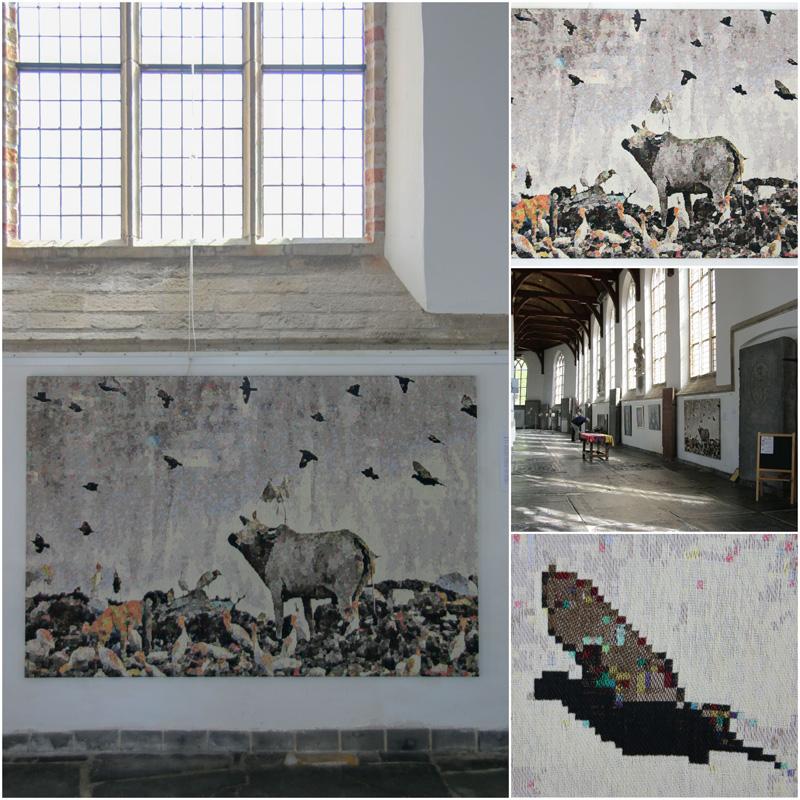 Gobelin 'New Delhi' van Barbara Broekman: koe op de vuilnisbelt valt van dichtbij in pixels uiteen