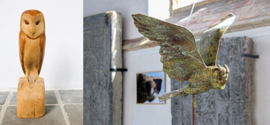 Houten uil van Jaap Deelder en vliegende uil van Hans Jouta