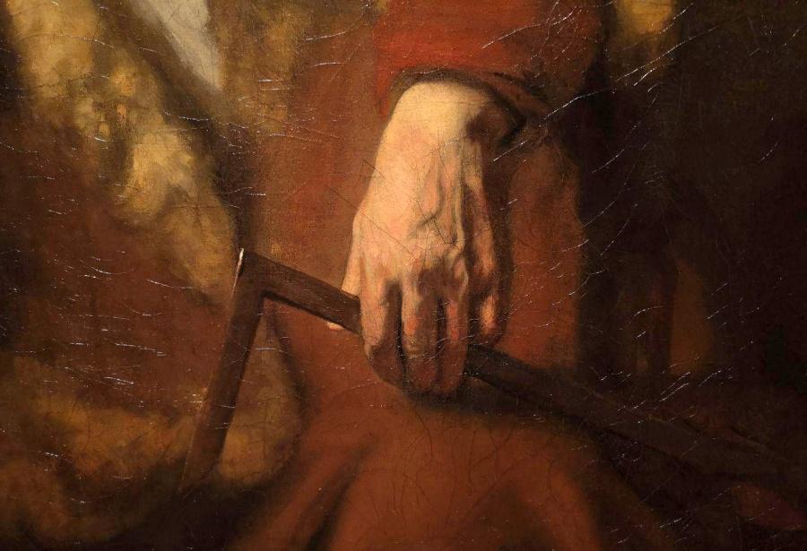 De apostel Thomas, detail van hand, 1656