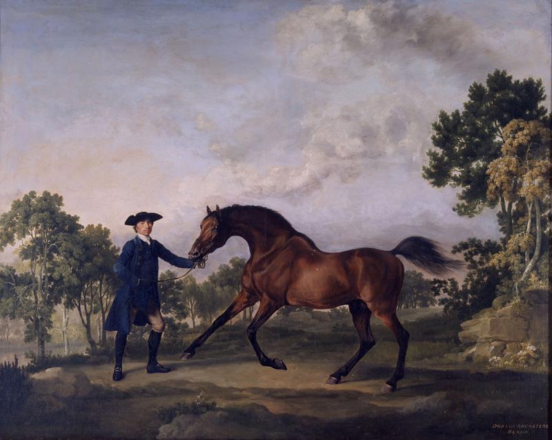 George Stubbs, Blank, de bruine hengst van de Duke of Ancaster, begeleid door Old Parnam