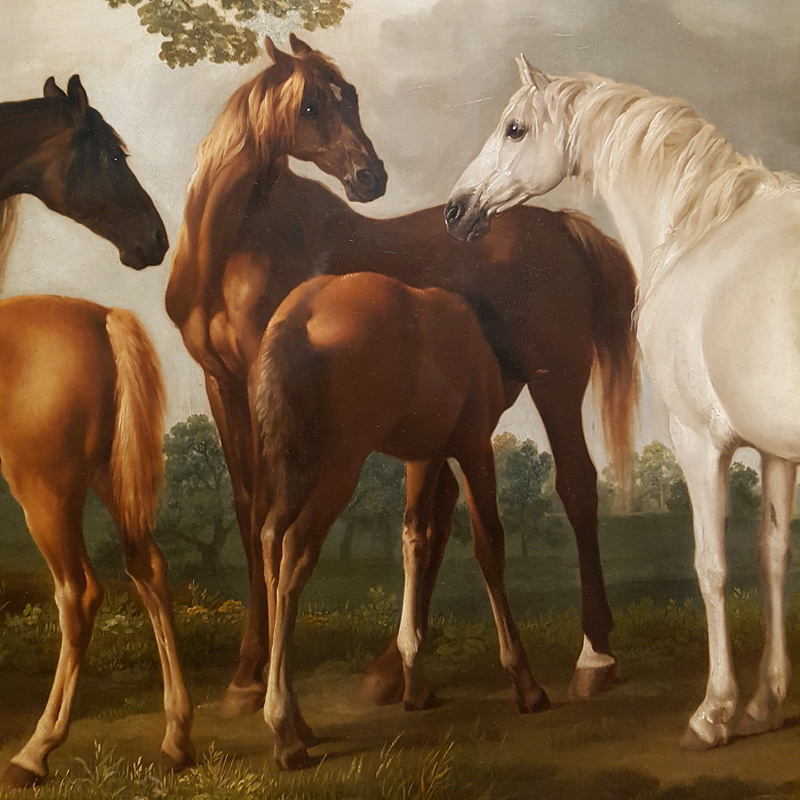 George Stubbs, Merries en veulens in een rivierlandschap (fragment)