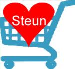 winkelwagentje met hart en oproep 'steun'
