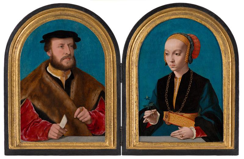 Bartholomäus Bruyn de Oude (1493-1555) Portret van Jakob Omphalius (1500-1567), 1538/39 Portret van Elisabeth Bellinghausen (c. 1518- c. 1577), 1538/39. Schenking van de erven van de heer C. Hoogendijk, Den Haag; in langdurig bruikleen van het Rijksmuseum sinds 1951.